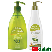 《土耳其dalan》頂級橄欖液態皂400ml+頂級橄欖全身滋養修護乳液250ml買就送歐美香氛皂一入(隨機出貨)