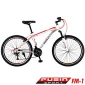 《FUSIN》FM-1 26吋高碳鋼V夾搭配無定位21速登山車(DIY組裝版本)(白紅)