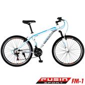 《FUSIN》FM-1 26吋高碳鋼V夾搭配無定位21速登山車(DIY組裝版本)(白藍)