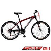 《預購6/15出貨FUSIN》FM-1 26吋高碳鋼V夾搭配無定位21速登山車(100%出貨服務升級版本)(黑紅)