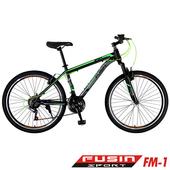 《FUSIN》FM-1 26吋高碳鋼V夾搭配無定位21速登山車(100%出貨服務升級版本)(黑綠)