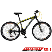 《FUSIN》FM-1 26吋高碳鋼V夾搭配無定位21速登山車(100%出貨服務升級版本)(黑黃)