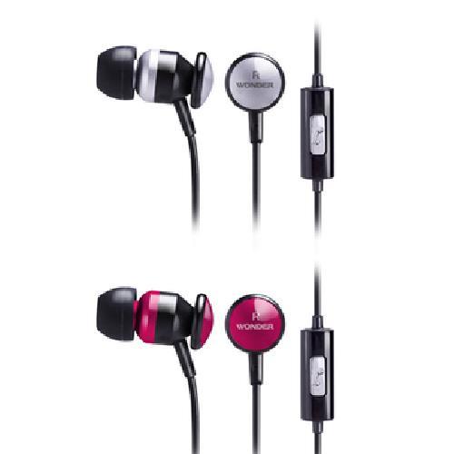 《WONDER》金屬感入耳式耳麥 WA-E09M(星鑽銀/銀紅 顏色隨機出貨)