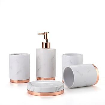 《Novella Amante》奢華風陶瓷衛浴套組 5件組(白色大理石紋)