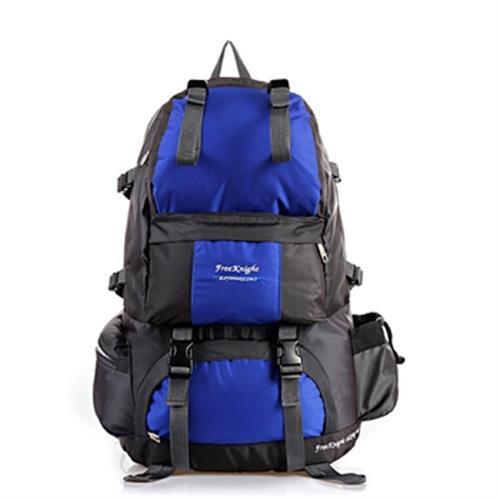 防潑水戶外雙肩背包50L(雙色藍-53X32X22cm)