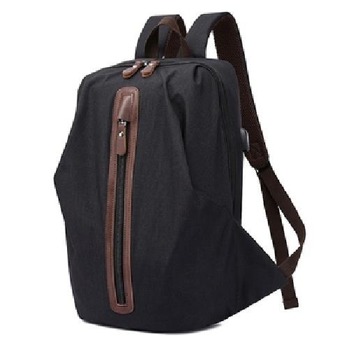 多功能防潑水USB雙肩後背包(黑-30X18X44cm)
