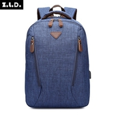 防潑水USB雙肩後背包(藍-25X9.5X41cm)
