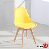 LOGIS 實木粗腿餐桌椅 閒椅 公婆椅 造型椅 餐桌椅 餐椅 桌椅 辦公椅 會議椅 洽談椅【X855】(黑)