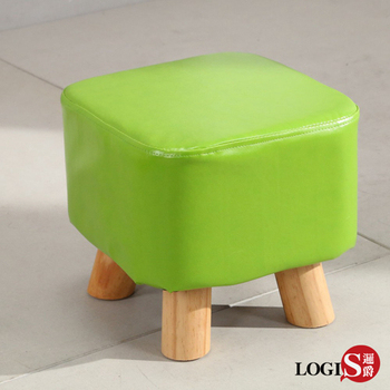 LOGIS 實木皮面椅 四方凳 兒童小凳子 休閒椅凳 沙發矮凳 小實木椅 小方凳 小板凳 居家【T04】(白)