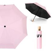 《幸福揚邑》降溫抗UV防風防撥水大傘面全自動開收木柄晴雨摺疊傘-五色可選(粉)