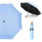 《幸福揚邑》降溫抗UV防風防撥水大傘面全自動開收木柄晴雨摺疊傘-五色可選(淺藍)