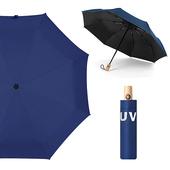 《幸福揚邑》降溫抗UV防風防撥水大傘面全自動開收木柄晴雨摺疊傘-五色可選(深藍)