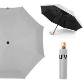 《幸福揚邑》降溫抗UV防風防撥水大傘面全自動開收木柄晴雨摺疊傘-五色可選(灰)