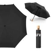 《幸福揚邑》降溫抗UV防風防撥水大傘面全自動開收木柄晴雨摺疊傘-五色可選(黑)
