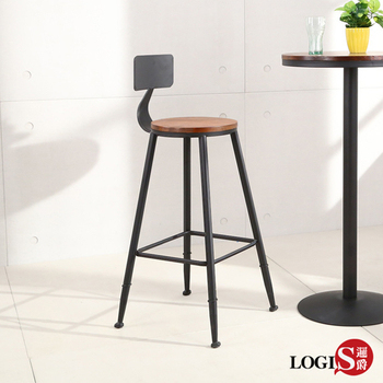 LOGIS 高腳椅 酒吧椅 靠背吧椅 辦公椅 高腳凳 不銹鋼吧檯椅 北歐 餐椅 木墊 【HQ79】(原木色)