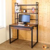 《BuyJM》工業風98公分黑烤漆附書架工作桌/電腦桌(木紋色)