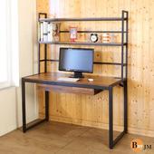 《BuyJM》工業風128公分黑烤漆附書架工作桌/電腦桌(木紋色)