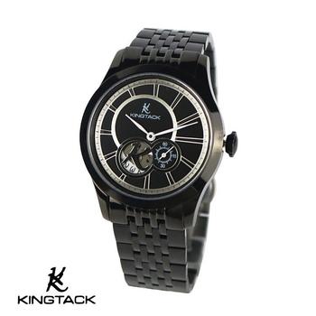 《KINGTAGK》晨曦初露時尚簡約機械腕錶(黑銀)