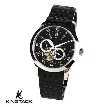 《KINGTAGK》時尚鏤空羅馬中性機械錶(黑)