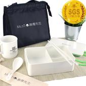 《Mr.nT 無毒先生》安心無毒耐熱餐盒環保筷湯匙湯杯保溫袋套組(套)