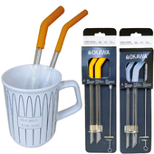 《OKAWA》矽膠吸管三件組 顏色隨機出貨(玻璃-粗吸管X1+細吸管X1+毛刷X1)
