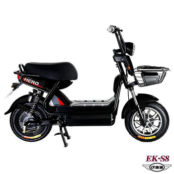 《e路通》(客約)EK-S8 野馬48V鉛酸高亮大燈防盜鎖避震電動車(電動自行車)(黑)