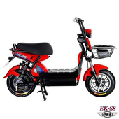 《e路通》(客約)EK-S8 野馬48V鉛酸高亮大燈防盜鎖避震電動車(電動自行車)(紅)
