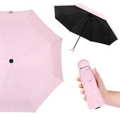 《幸福揚邑》抗UV降溫8骨防風防潑水大傘面五折迷你晴雨口袋傘-四色可選(粉)