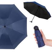 《幸福揚邑》抗UV降溫8骨防風防潑水大傘面五折迷你晴雨口袋傘-四色可選(深藍)