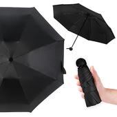 《幸福揚邑》抗UV降溫8骨防風防潑水大傘面五折迷你晴雨口袋傘-四色可選(黑)