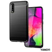 《YANGYI揚邑》SAMSUNG Galaxy A70 碳纖維拉絲紋軟殼散熱防震抗摔手機殼-黑(黑)