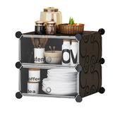 《DIY》組合式收納櫃二層含門-49X37X39cm黑 $520