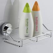 《幸福揚邑》旋鎖式吸盤不鏽鋼廚房浴室方型收納置物架(旋鎖式吸盤收納架)