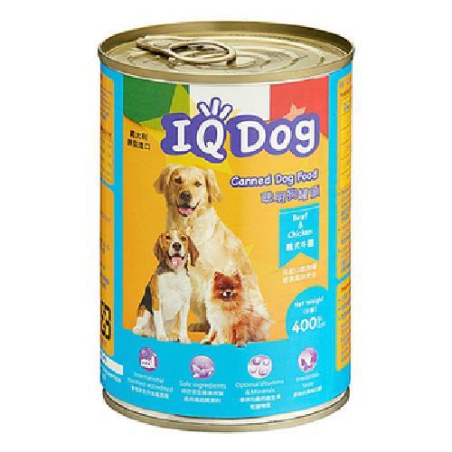 IQ DOG 聰明狗罐頭 400G/罐(義式牛雞口味)