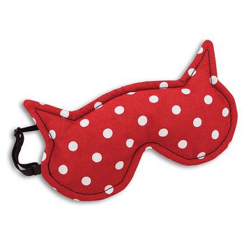 《德國 Leschi》舒緩疲勞熱敷/冷敷眼罩- 貓女造型 (紅底白點)送:防磨貼鞋墊×1包 (市價$280)