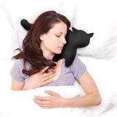 《德國 Leschi》旅行枕頭/辦公室、教室午休枕頭- 貓造型 (黑色)