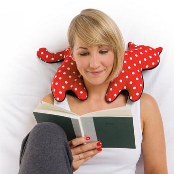 《德國 Leschi》旅行枕頭/辦公室、教室午休枕頭- 貓造型 (紅白點)