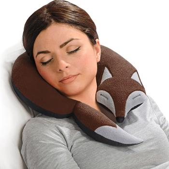 《德國 Leschi》旅行枕頭/辦公室、教室午休枕頭- 狐狸造型 (咖啡色)