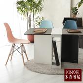 《木森雅居》KIMORI simple餐桌椅組(1桌2椅)(楓木色桌+白色椅)
