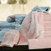 雪之桃葉中空紗毛巾 粉