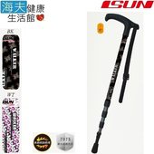 《海夫健康生活館》宜山 登山杖手杖 4段式伸縮/鋁合金/台灣製造/Walker(AW4S008)(BK色)