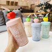 《繽紛》水果冰杯 附吸管攪拌棒-270ml(綠色)