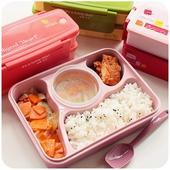 《日式》可微波 五格便當盒 附湯碗、湯匙 23.5*17.5*6.5cm(藍)