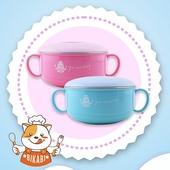 《304不鏽鋼》雙耳碗 兒童碗-附蓋 可拆洗 345ml藍色 $129