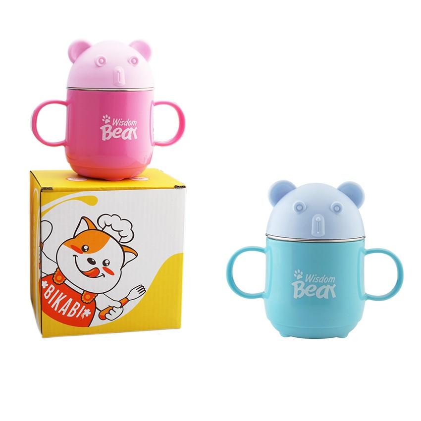 《304不鏽鋼》雙耳小熊杯 兒童杯 可拆洗 240ml(藍色)