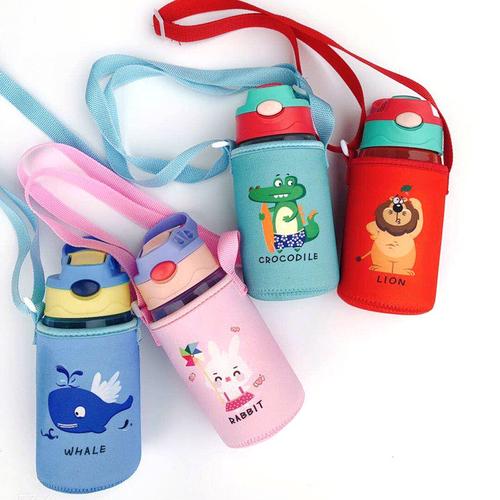 《可愛動物造型》兒童冷水壺 彈跳杯-附提袋 450ml(小鱷魚)
