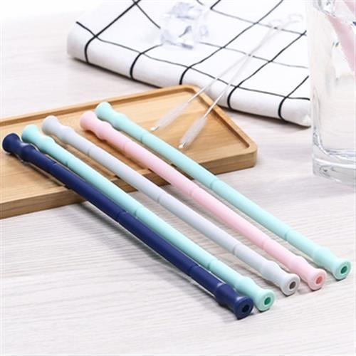《環保》便攜式可折疊矽膠吸管 附收納盒+清潔刷 顏色隨機(20*1.1cm)