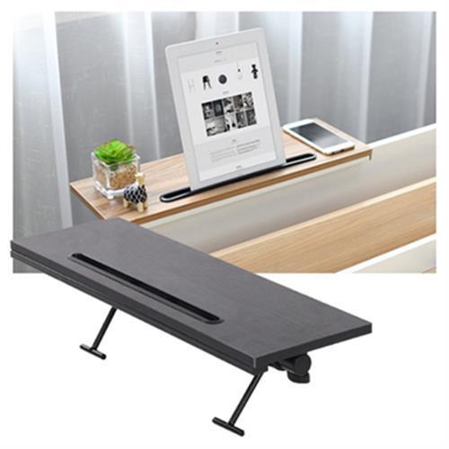 《多功能》仿木紋 電腦螢幕上方置物架 擴充 加高 置物板 收納架 50X16X1.2cm(黑色)
