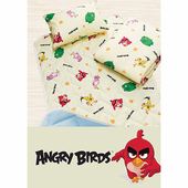 【17mall】憤怒鳥三件式兒童睡墊 涼被 童枕 睡袋(黃色)
