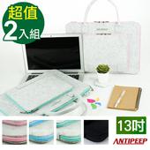 《ANTIPEEP》極簡時尚厚版毛氈手提電腦包/平板包-13吋(2入組)(灰藍+黑色)